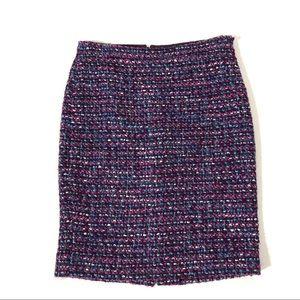 J. Crew Pink Purple Boucle No. 2 Pencil Skirt